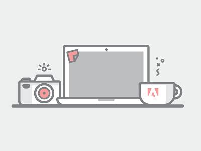 Adobe photography flat illustration mac laptop camera coffee desk work photography adobe