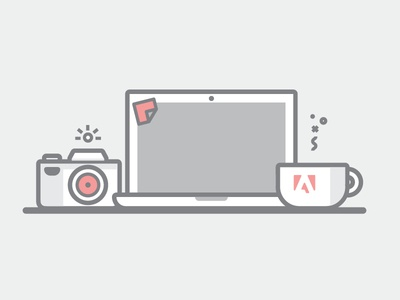 Adobe photography flat illustration mac laptop camera coffee desk work photography adobe
