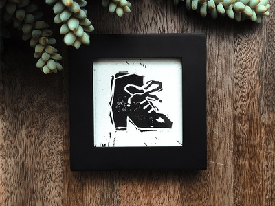 Little boot print shoe boot ink graphic white black printing linocut print