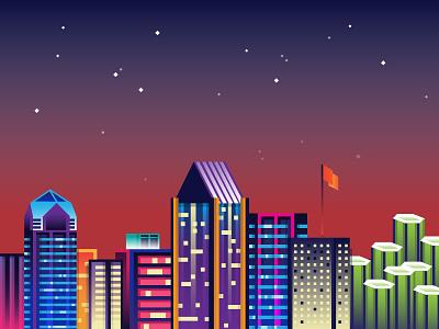 Adobe MAX Snapchat geofilter, Sneaks skyline city stars sky adobe illustrator flat illustration