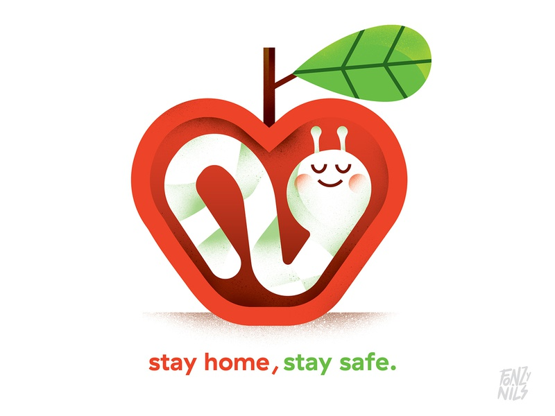 Stay home , stay safe home apple covid-19 design art digital drawing characters illustrator fonzynils illustration