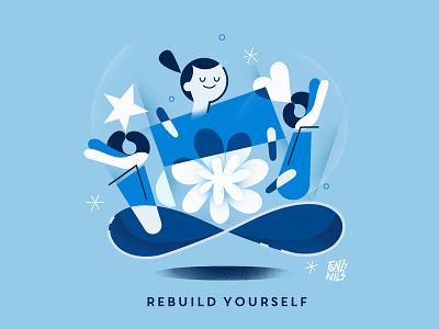 Rebuild yourself message rebuild positivevibes character design editorial magazine characters illustrator fonzynils illustration