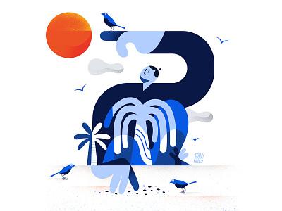 Birds birds sunset sun people visual characterdesign digital drawing illustration fonzynils