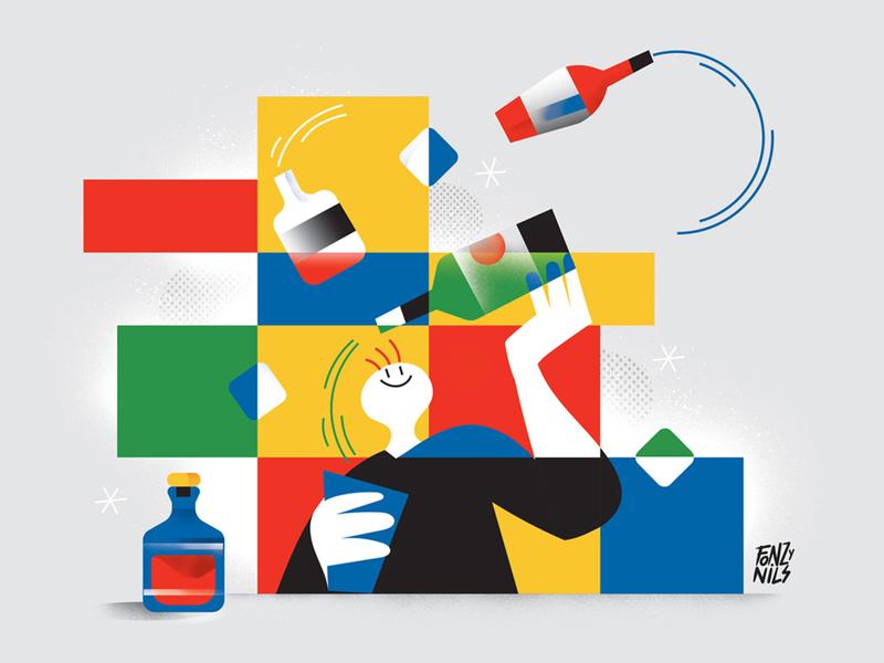 Drinks and colors bar barman drink art digital design editorial drawing magazine characters illustrator illustration fonzynils