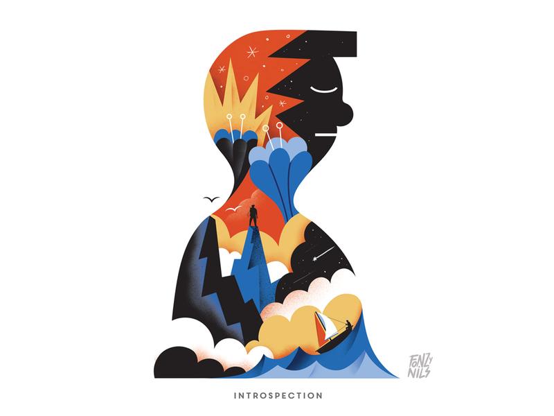 Introspection design character art digital drawing magazine characters illustrator fonzynils illustration