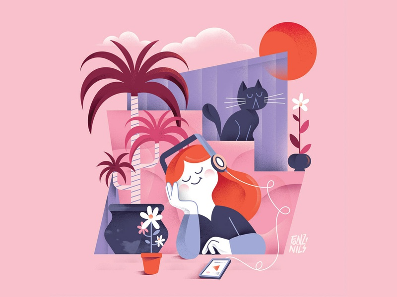 Chill Out relax chilling sunset color design character digital magazine drawing characters illustrator fonzynils illustration