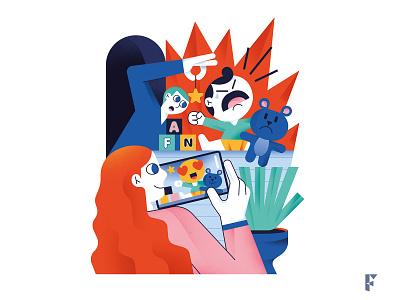 Sharenting magazine editorial illustration illustration