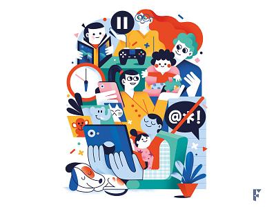App and videogames illustrator characters drawing videogame app magazine illustration magazine editorial design fonzynils illustration