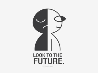 Look to the Future digital sharing nocolors grey shapes graphic minimal message icons characterdeisgn illustration notes fonzynils art
