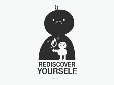 Rediscover Yourself characterdesign illustrated nocolors design minimal digitalart drawing art message tshirt poster fonzynilsnotes illustration fonzynils