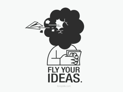 Fly Your Ideas icons drawing graphic characterdesign sharing messages nocolors black design minimal fonzynilsnotes illustration fonzynils