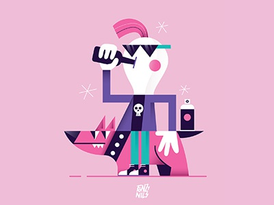 Pink is not dead pink punk vectorial digital draw illustrator illustration characterdesign fonzynils