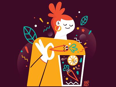 Centrifuga illustration art carrot orange colors illustrator art digitaldrawing fruit vegetables centrifuge woman design characterdesign illustration