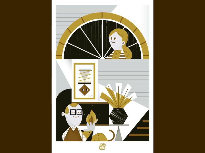 Rainy Night drawing art geometric vectorial illustrator illustration design composition house characterdesign fonzynils