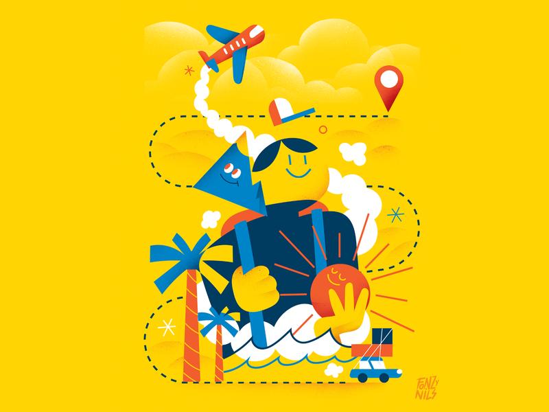 Travelling trip icons digitalart illustration design sun palms sea plane design yellow travelling travel editorial characterdesign illustrator illustration fonzynils