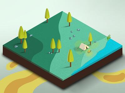 Camping 3d art tent isometric camping ipad procreate illustration