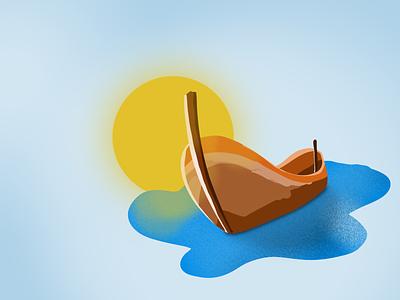 Boat ipad procreate illustration illustrator sun sea boat