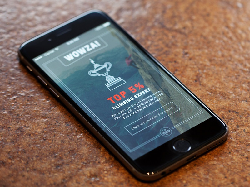Great success! iphone app ui ux product reward success discount outdoor mobile trophy climbing
