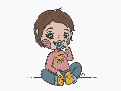Immie pacifier babygirl procreate girl character design illustration