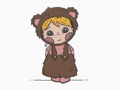 Sweet little bear dressedup bear girl procreate character design illustration