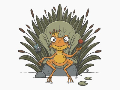 The scary queen of frogs and her dinner dinner fly queen frog procreate character design illustration