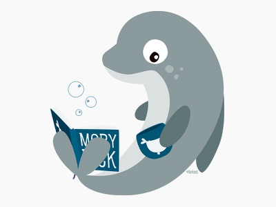 Mel the reading dolphin book reading moby dick dolphin character design illustration