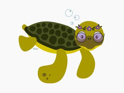 Hazel the hippie sea turtle turtle hippie character design illustration