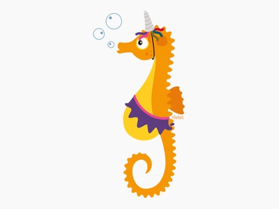 Lizzy the dreamy seahorse. unicorn ballet seahorse character design illustration