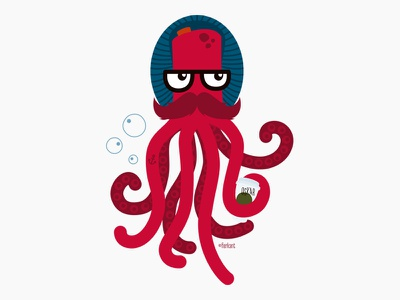 Oscar the Hipster Octopus hipster coffee octopus character design illustration