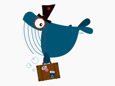 Mr. Whale the traveling whale hat suitcase whale character design illustration