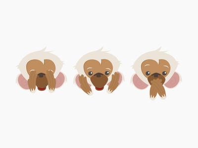 See no evil, hear no evil, speak no evil three wise monkeys no evil speak hear see monkeys character design illustration