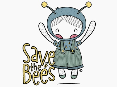 Save the Bees! character design girl bees bee procreate illustration save the bee