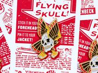 Flying Skull Enamel Pin