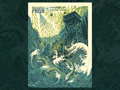 Phish Gig Poster water screenprint print design gigposter poster texture illustration