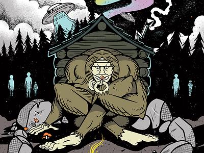 Stoned Ape ufo mushroom sasquatch ink texture illustration