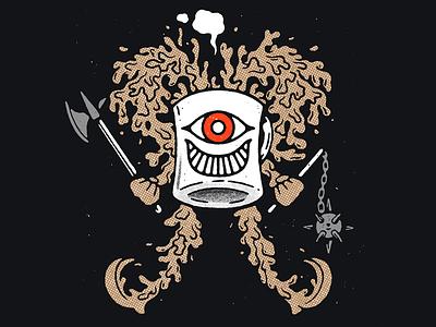 Coffee Man eye halftones coffee mug character designs axe weapons coffee character design texture illustration