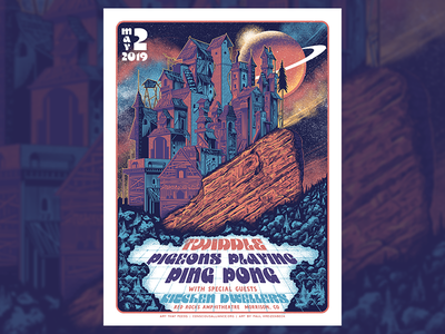 Twiddle, Pigeons Playing Ping Pong Red Rocks Gigposter screenprint gigposter typography poster illustration