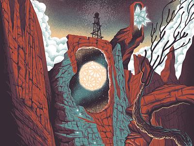 Moe., Mike Gordon and White Denim at Red Rocks screenprint ink gigposter poster illustration