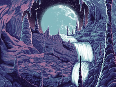 Moon Cave WIP cavern cave moon screenprint poster gigposter illustration