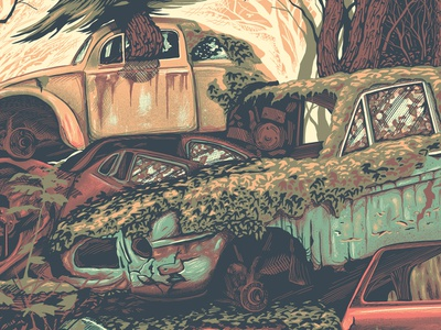 Car Graveyard WIP old car trees forest cars screenprint gigposter poster texture illustration