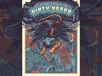 Dirty Heads Gigposter wolf dirty heads screenprint gigposter poster illustration