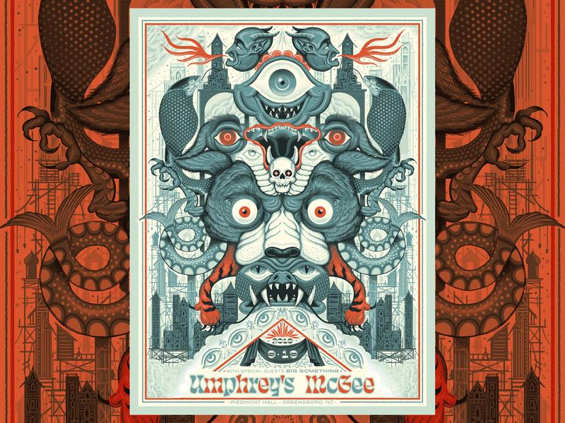 Umphrey's McGee Greensboro Poster screenprint type gigposter texture poster illustration