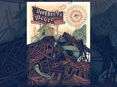 Umphreys Mcgee Kettering, OH Gigposter lettering screenprint type gigposter poster texture illustration