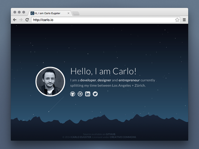 Personal Landing Page personal website landing page stars night animated processing scene