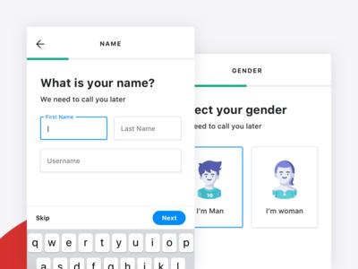 Xbody | Filling Name / Select Gender