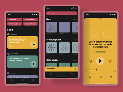 Podcast Mobile App podcast app design mobile app design apple ios mobile interface mobile design mobile ui design ux design uxui ux graphic design