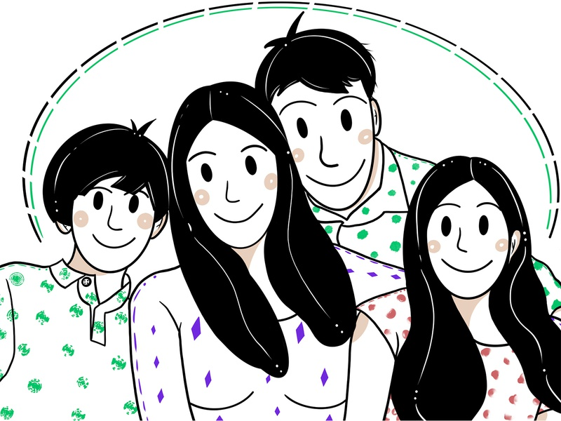 Family girl illustration man illustration woman illustration family illustration hair face boy girls man family minimalism clean minimal people girl colors woman procreate illustration character
