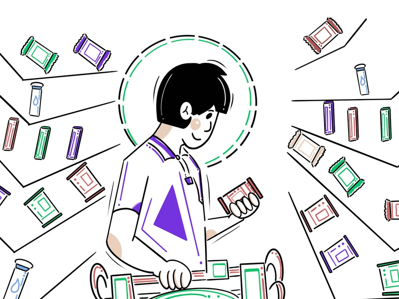 Shopping man illustration character design store shelves shopping cart cans circle triangle design minimalism clean minimal colors procreate illustration character boy man face people shopping