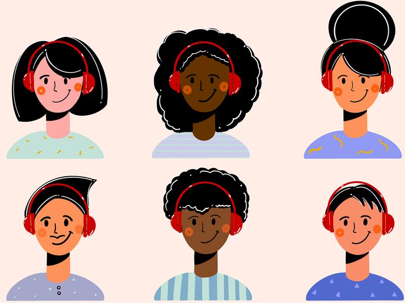 People listen music 🎧 happy fochacz colors 2d art clean design character design face minimal headphones characters flat design flat style ui design illustration men women people music
