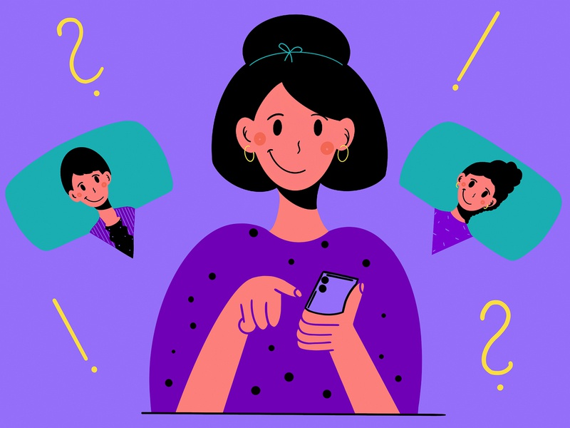 Woman with a smartphone phone 2d art ui design contact flat design flat clean minimal face question mark exclamation mark conversation character design design character style colors illustration man women